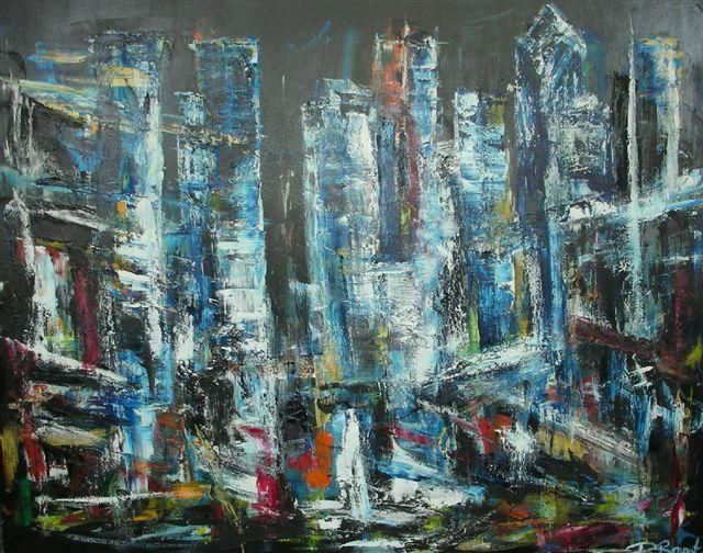 Time square - Painting,  60x48 in ©2013 by Patrice Brunet -                        Expressionism