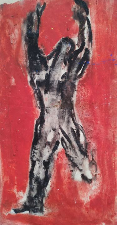 personnage-en-mouvement-01.jpg - Painting,  47x26 cm ©2019 by Patricia Taieb -                                                                    Abstract Art, Figurative Art, Colors, Men, abstrait, rouge, noir, personnage, moderne, papier, decoration, medical