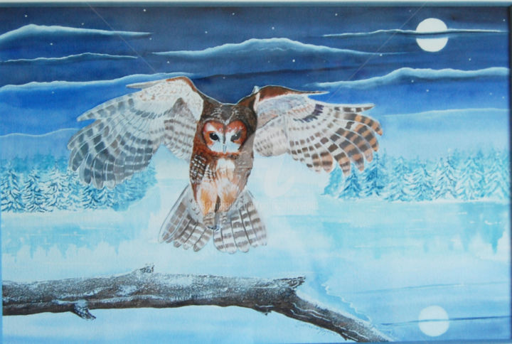 chasse de nuit (chouette hulotte) - Painting,  50x33 cm ©2003 by Patricia Hyvernat -                                                                                                Figurative Art, Realism, Paper, Animals, Nature, Birds, chouette hulotte, chouette, aquarelle de chouette, tableau de chouette, peinture de chouette, dessin de chouette, tableau animalier, peinture animalière, peintre animalier, nature, wildlife painting, chouette à l'aquarelle