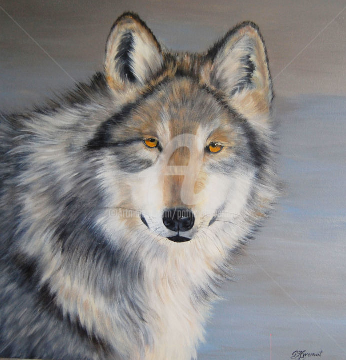 Lobo loup gris du Mexique  acrylique sur  toile - Painting,  60x60 cm ©2014 by Patricia Hyvernat -                                                                        Figurative Art, Realism, Canvas, Animals, loup, loup gris, tableau de loup, peinture de loup, peinture animalière, peintre animalier, wildlife painting, foret, dessin de loup, loup en peinture, artiste animalier, art animalier, photo de loup, art figuratif, artistes de talent, realisme, portrait animalier, wolf, art contemporain, peinture contemporaine, figuratif
