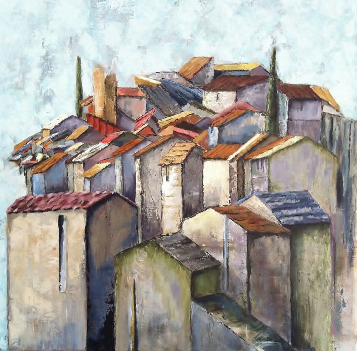 Pierres Provencales - Painting,  50x50 cm ©2014 by Patricia Lejeune -                                            Canvas, Cities, provence, village, village perché