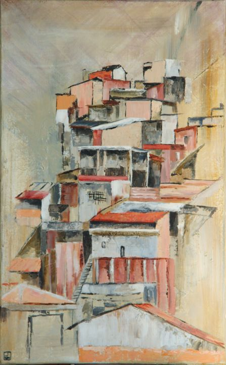 Favela Sud - Painting,  23.6x15 in, ©2014 by Patricia Lejeune -                                                                                                              Cities, favela