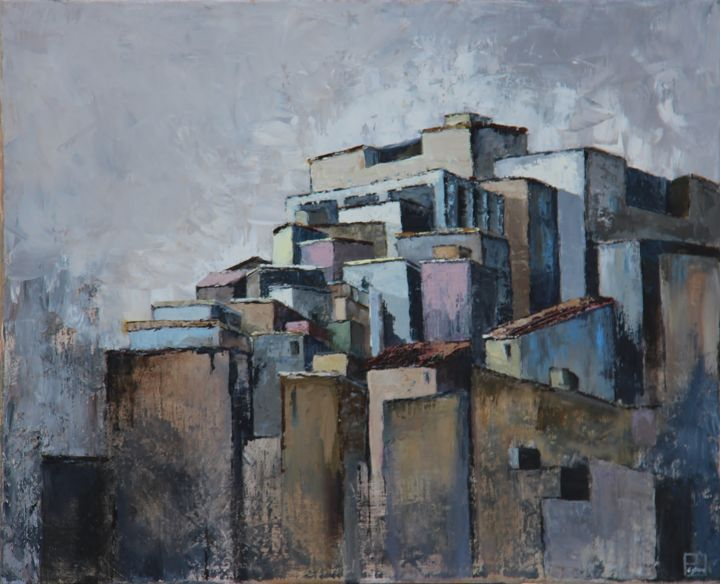 Favela Nord - Painting,  38x46 cm ©2014 by Patricia Lejeune -                                            Canvas, Cities, favela