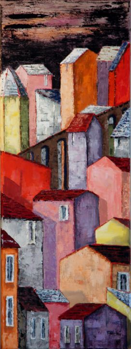 Compression - Painting,  80x30 cm ©2015 by Patricia Lejeune -                                        Naive Art, Cities
