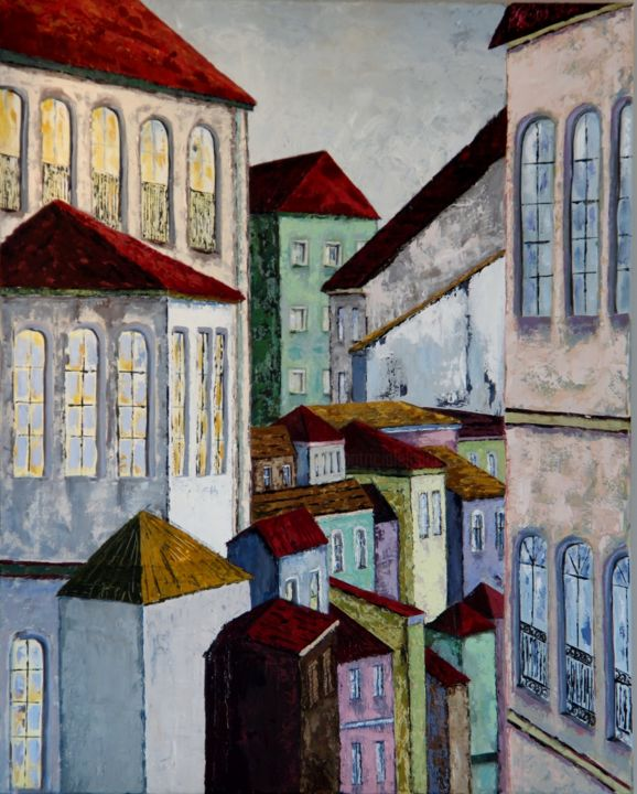 Le milieu - Painting,  100x80x4 cm ©2015 by Patricia Lejeune -                                        Naive Art, Cities
