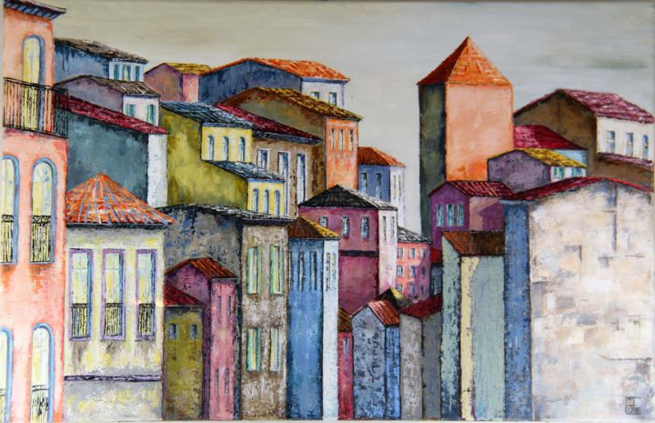 Tour orange - Painting,  25.6x39.4x0.8 in, ©2016 by Patricia Lejeune -                                                              Cities