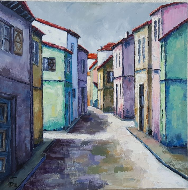 Rue claire - Painting,  23.6x23.6 in, ©2017 by Patricia Lejeune -