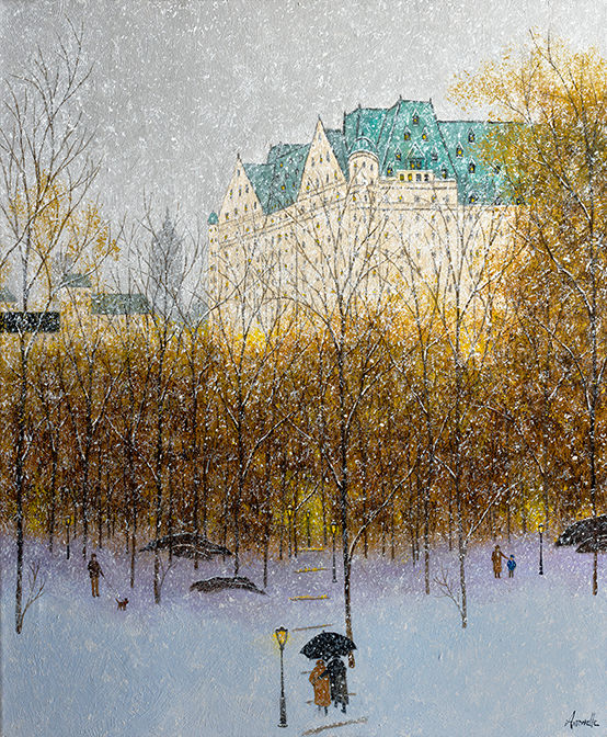 """Painting titled """"The Plaza Hotel, ci…"""" by Patrick Antonelle, Original Art, Oil"""