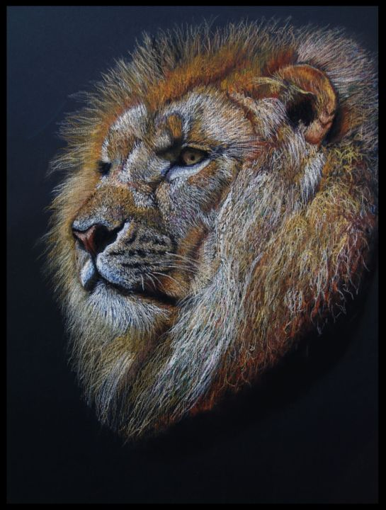 -lion- - Painting,  25.6x19.7 in, ©2016 by Patrick Dorigny -                                                                                                                                                                                                                                                                      Figurative, figurative-594, Animals, animaux, pastel