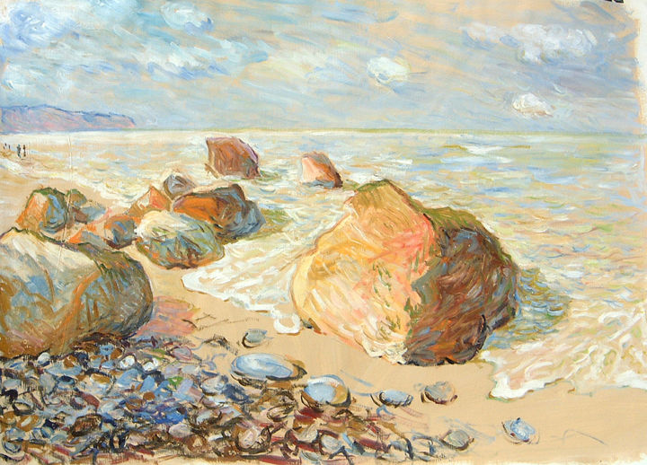 Plage normande - Dieppe - Painting,  23.6x31.9x0.4 in, ©1998 by Patrick Marie -                                                                                                                                                                                                                                                                                                                                                                                                                                                                                                  Impressionism, impressionism-603, Seascape, normandie, Dieppe, Plage, rochers, sable, mer, Manche