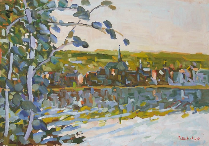 Les Andelys - le matin - Painting,  19.7x25.6 in, ©2002 by Patrick Marie -                                                                                                                                                                                                                                                                                                                  Impressionism, impressionism-603, Nature, Normandy, Seine, river