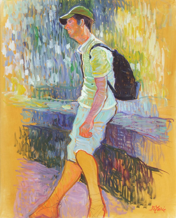 Le randonneur - Painting,  25.6x19.7x0.8 in, ©2011 by Patrick Marie -                                                                                                                                                                                                                                                                                                                                                              Impressionism, impressionism-603, Portraits, Randonneur, marche, pause, repos