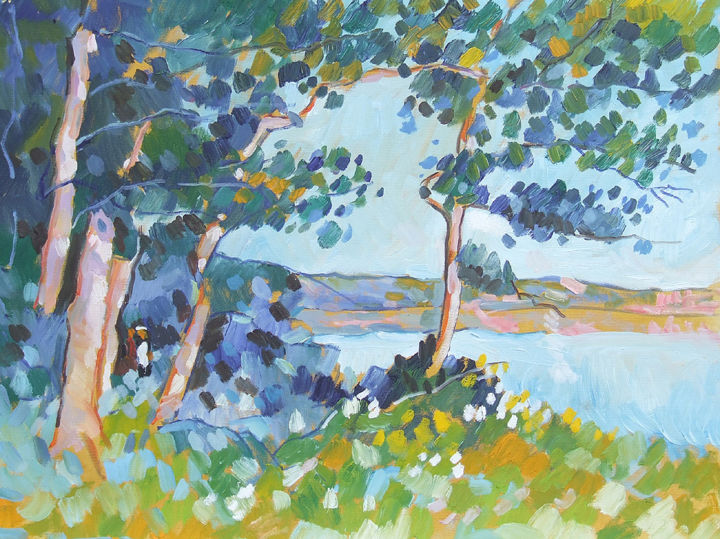 Étang de Poses - Painting,  19.7x25.6 in, ©2006 by Patrick Marie -                                                                                                                                                                                                                                                                                                                  Impressionism, impressionism-603, Nature, Normandy, Seine river, automne