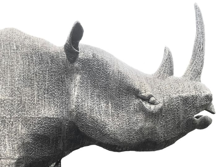 Rhinocéros Métal - Sculpture,  43.3x78.7x129.9 in, ©2019 by Patrick Médéric -                                                                                                                                                                                                                                                                                                                                                                                                                                                                                                                              Metal, Animals, Mortality, Nature, rhinocéros, métal, monumental, grand format, mécénat, art animalier, sculpture