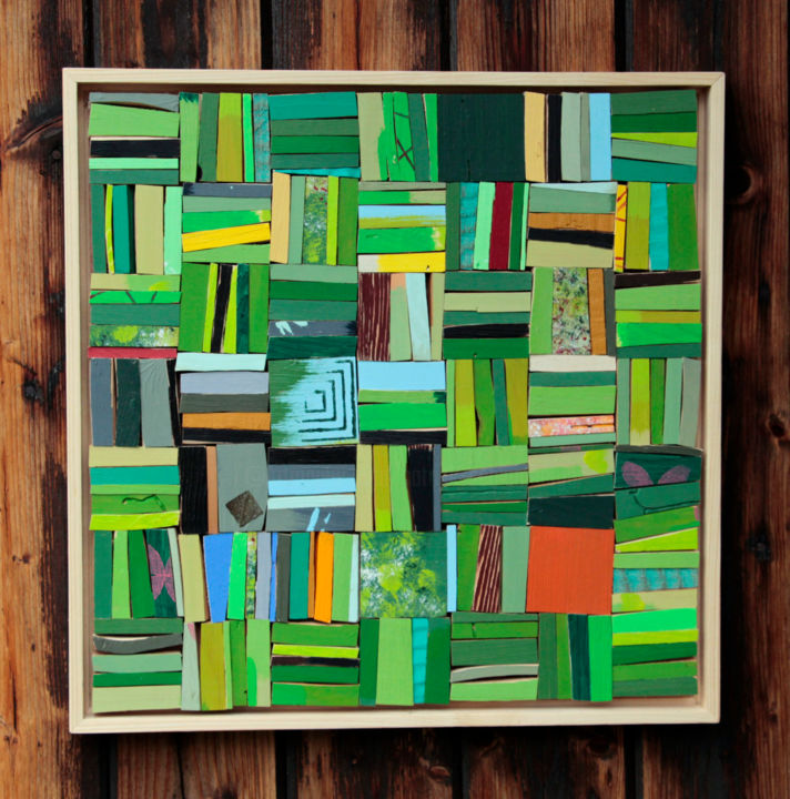 structure verte - Painting,  35x35x3 cm ©2013 by shub -