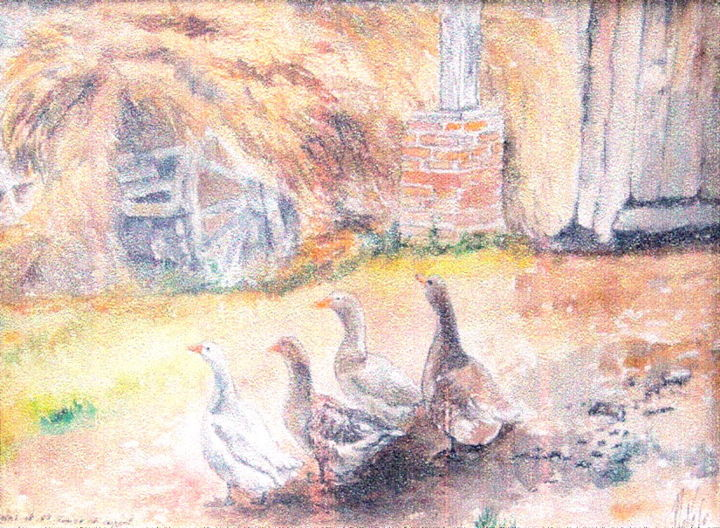 Les oies de Coppel - Painting,  9.5x12.6 in ©2001 by PATRICK NEVOSO -                                    Environmental Art, Impressionism