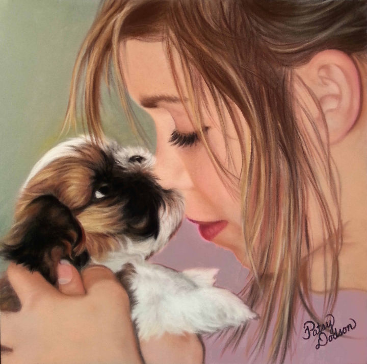 """Painting titled """"Puppy Love"""" by Patsy Ruth Kroeckel, Original Art, Pastel Mounted on Stretcher frame"""