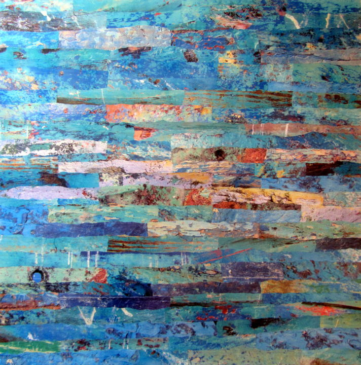 Lumières - Collages,  31.5x31.5x0.4 in, ©2018 by Patrick Haentzler -                                                                                                                                                                                                                                                                                                                                                                                                                                                                                                                                                                                              Abstract, abstract-570, Pulpboard, Abstract Art, Boat, Colors, World Culture, photos, Maroc, barques, couleurs, collages