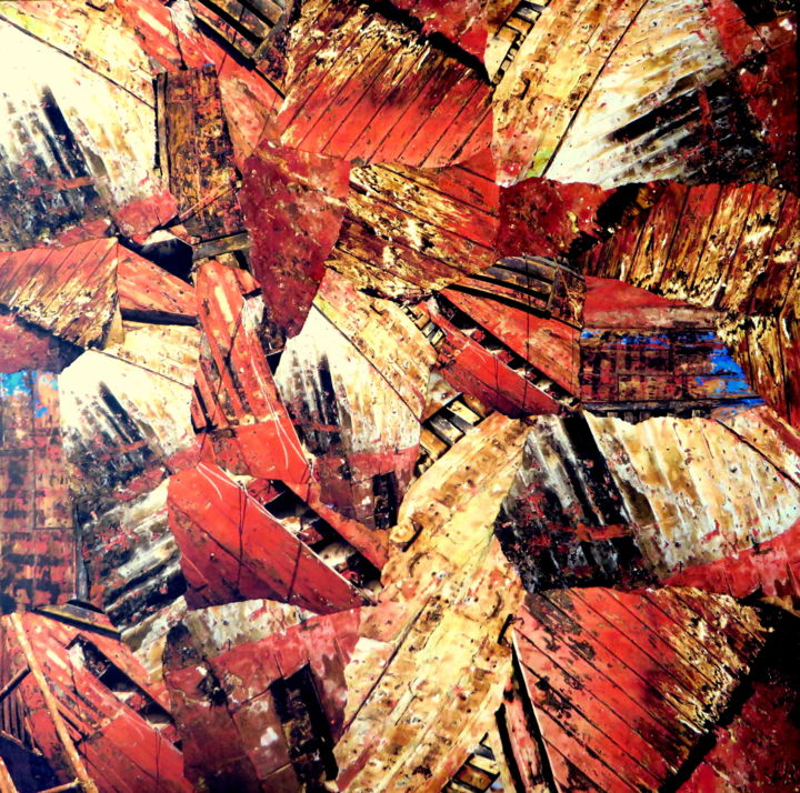 Réparation - Collages,  15.8x15.8x0.4 in, ©2020 by Patrick Haentzler -                                                                                                                                                                                                                                                                                                                                                                                                                                                                                                                                                                                                                                      Abstract, abstract-570, Abstract Art, Boat, Colors, Ships, collages, bateaux, chantier naval, couleurs, voyage, Maroc, photos