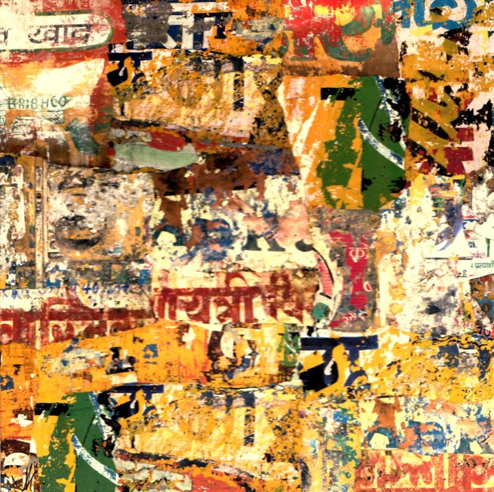 Indienne II - Collages,  7.9x7.9x0.4 in, ©2020 by Patrick Haentzler -                                                                                                                                                                                                                                                                                                                                                                                                                                                                                                                                              Abstract, abstract-570, Abstract Art, Wall, Cities, Collage, Photo, Inde, Murs, Couleurs, Ville