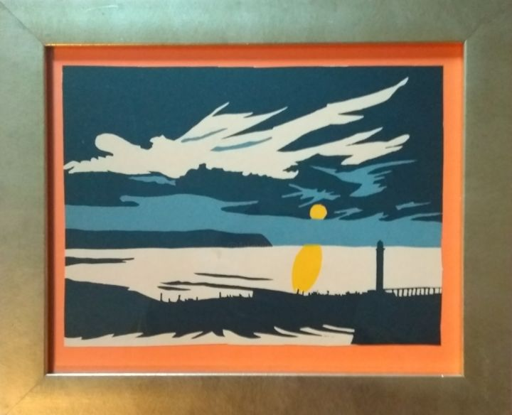 """Printmaking titled """"Whitby harbour"""" by Paul Antwis, Original Art, Screenprinting"""