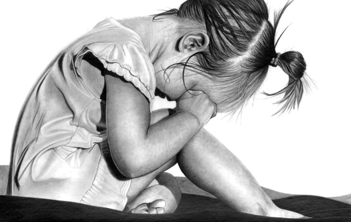 Coming Ready or Not.... - Drawing,  12.6x19.7 in, ©2019 by Paul Stowe -                                                                                                                                                                                                                                                                                                                                                                                                                                                                                                                                              Figurative, figurative-594, Children, child, sorrow, crying, sad, sadness, tears, girl, emotion