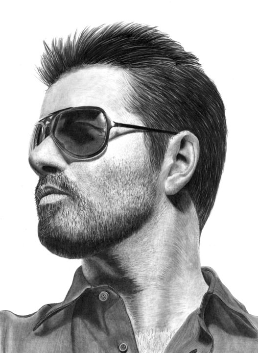 George - Drawing,  15.8x11.8 in, ©2018 by Paul Stowe -                                                                                                                                                                                                                                                                                                                                                                                                                                                                                                                                                                                                                                                                                  Figurative, figurative-594, Black and White, Celebrity, Fashion, Men, Music, george michael, wham, singer, pop, georgemichael, last christmas, greek