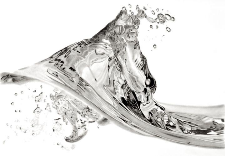 Pencil Wave Drawing by Paul Stowe | Artmajeur