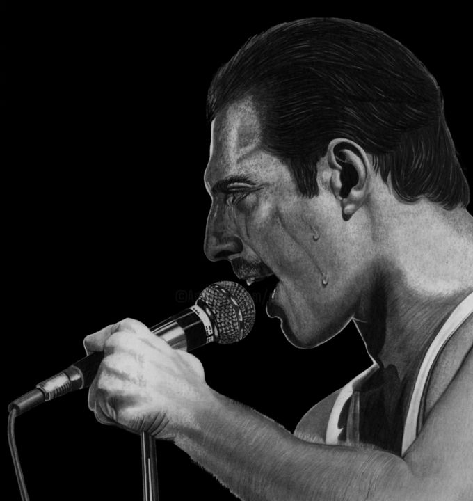 Freddie - Drawing,  15.4x14.2 in, ©2019 by Paul Stowe -                                                                                                                                                                                                                                                                                                                                                                                                                                                                                                                                                                                                                                      Figurative, figurative-594, Black and White, Celebrity, Men, Performing Arts, Pop Culture / celebrity, freddie, freddie mercury, queen, Bohemian Rhapsody, brian may, rock band