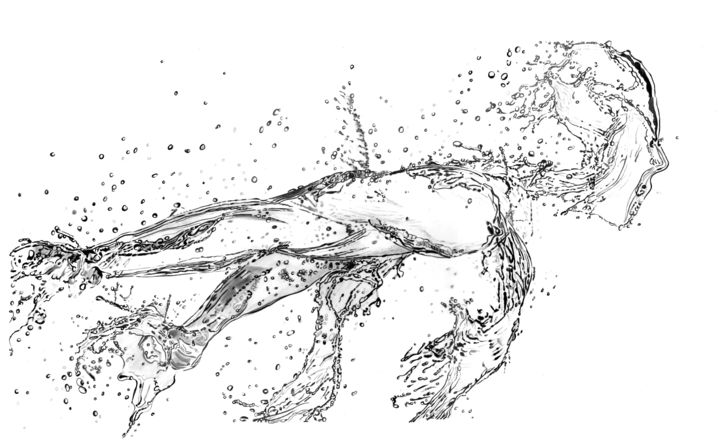 Running Water - Drawing,  65x40x0.1 cm ©2018 by Paul Stowe -                                                                                                                        Surrealism, Paper, Black and White, Body, Health & Beauty, Men, Sports, Water, splash, running, health, fitness, water