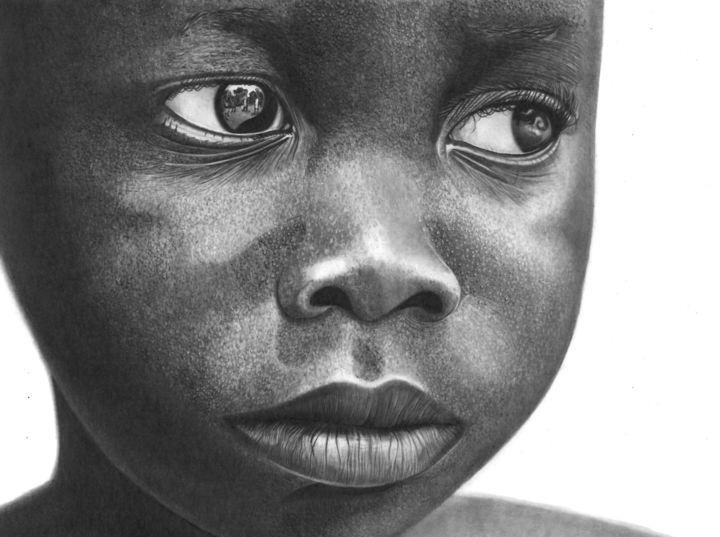 Bright Eyes - Drawing,  11.8x15.8 in, ©2019 by Paul Stowe -                                                                                                                                                                                                                                                                                                                                                                                                                                                                                                                                                                                          Figurative, figurative-594, Black and White, Children, Family, Kids, Portraits, africa, african, child, sadness, eyes