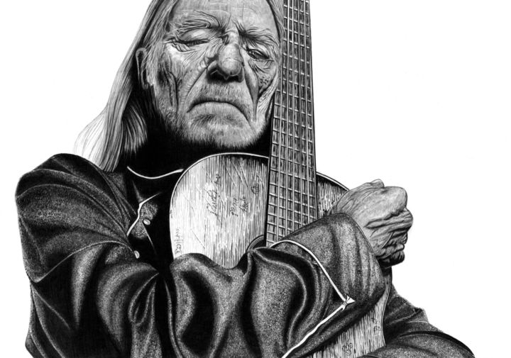 Willie Nelson - Drawing,  13.8x19.7 in, ©2019 by Paul Stowe -                                                                                                                                                                                                                                                                                                                                                                                                                                                                                                                                                                                                                                                                                  Figurative, figurative-594, Black and White, Celebrity, Men, Music, Pop Culture / celebrity, country and western, music, usa, american, trigger, guitar, icon