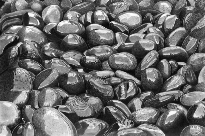 Wet Pebbles XXL - Drawing,  15.4x22.8 in, ©1976 by Paul Stowe -                                                                                                                                                                                                                                                                                                                                                                                                                                                                                                                                                                                                                                                                                  Hyperrealism, hyperrealism-612, Beach, Black and White, Nature, Water, pebbles, wet, water, stones, hyperrealism, photorealism, graphite, beach