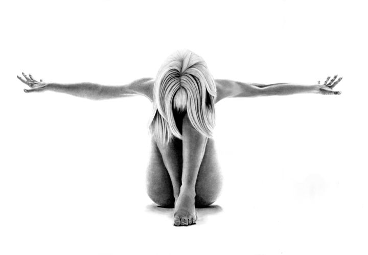 alone - Drawing,  21.7x31.5 in, ©2020 by Paul Stowe -                                                                                                                                                                                                                                                                                                                                                                                                                                                                                                                                                                                                                                                                                  Hyperrealism, hyperrealism-612, Black and White, Body, Erotic, Health & Beauty, Nude, naked, nude, pose, yoga, bodyscape, female, women