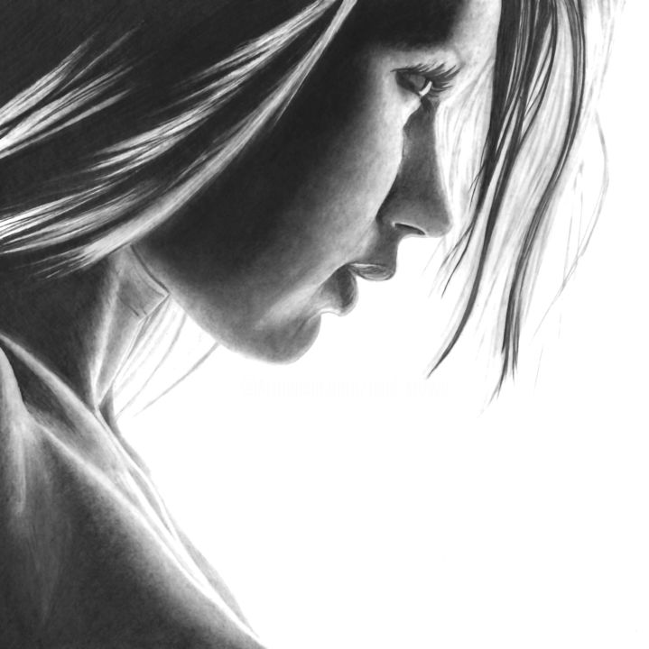 In the Shadows II - Drawing,  11.8x11.8 in, ©2020 by Paul Stowe -                                                                                                                                                                                                                                                                                                                                                                                                                                                                                                                                                                                          Figurative, figurative-594, Black and White, Erotic, Portraits, Women, beauty, sexy, shadow, profile, hyperrealism, photorealism