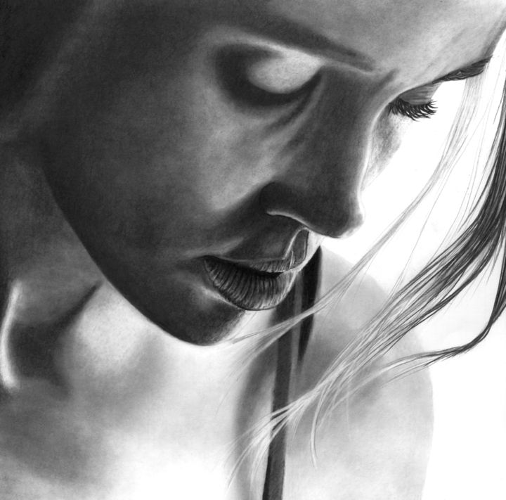In The Shadows IV - Drawing,  11.8x11.8 in, ©2020 by Paul Stowe -                                                                                                                                                                                                                                                                                                                                                                                                                                                                                                                                              Figurative, figurative-594, Black and White, Erotic, People, Portraits, Women, sexy, portrait, sultry, shadow