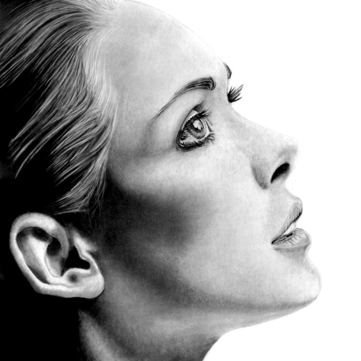 In The Shadows VI - Drawing,  11.8x11.8 in, ©2020 by Paul Stowe -                                                                                                                                                                                                                                                                                                                                                                                                                                                                                                                                              Hyperrealism, hyperrealism-612, Black and White, Erotic, Health & Beauty, Portraits, Women, beauty, women, sultry, sexy