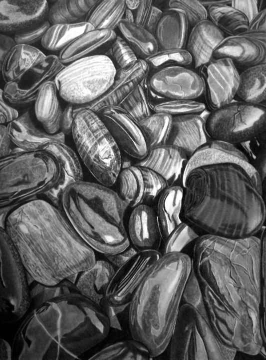 Wet Pebbles #12 - Drawing,  15.8x11.8 in, ©2020 by Paul Stowe -                                                                                                                                                                                                                                                                                                                                                                                                                                                                                                                                                                                                                                                                                  Hyperrealism, hyperrealism-612, Black and White, Nature, Still life, Water, stones, pebbles, wet, shine, smooth, gloss, hyperrealism, photorealism
