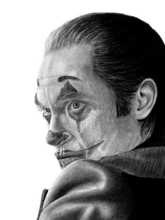 Joker - Drawing,  15.8x11.8 in, ©2020 by Paul Stowe -                                                                                                                                                                                                                                                                                                                                                                                                                                                                                                                                                                                                                                      Figurative, figurative-594, Black and White, Celebrity, Cinema, Comics, Dark-Fantasy, joker, batman, gotham, joaquim, actor, oscars