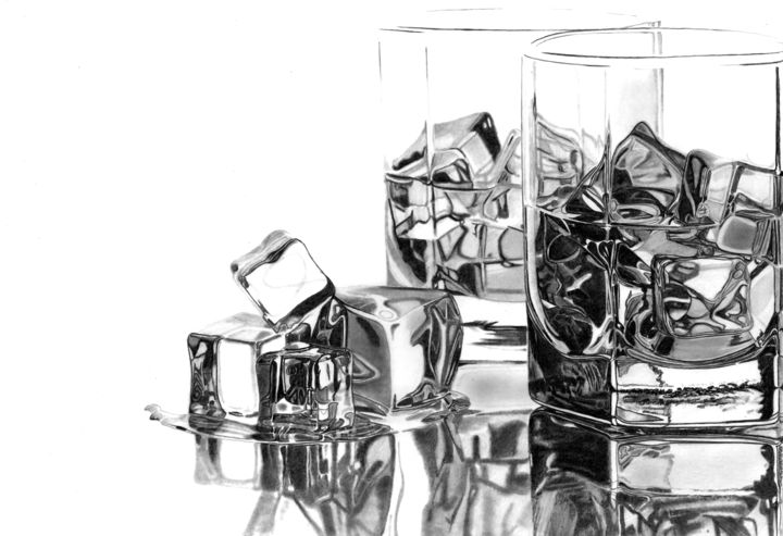 Still life Drawing, graphite, hyperrealism, artwork by Paul Stowe