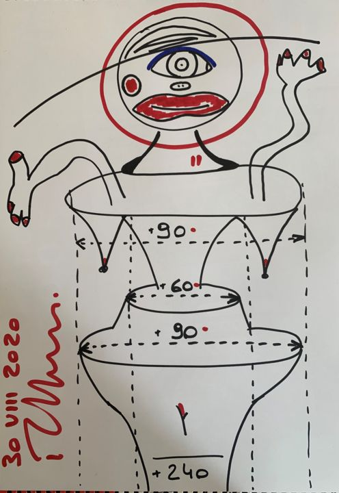 """Drawing titled """"a perfect woman"""" by Paul Yves Poumay, Original Art, Marker"""