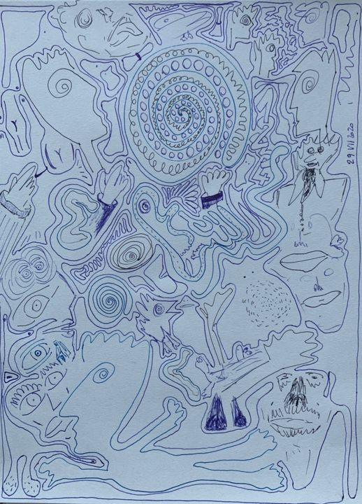 """Drawing titled """"covid party"""" by Paul Yves Poumay, Original Art, Marker"""