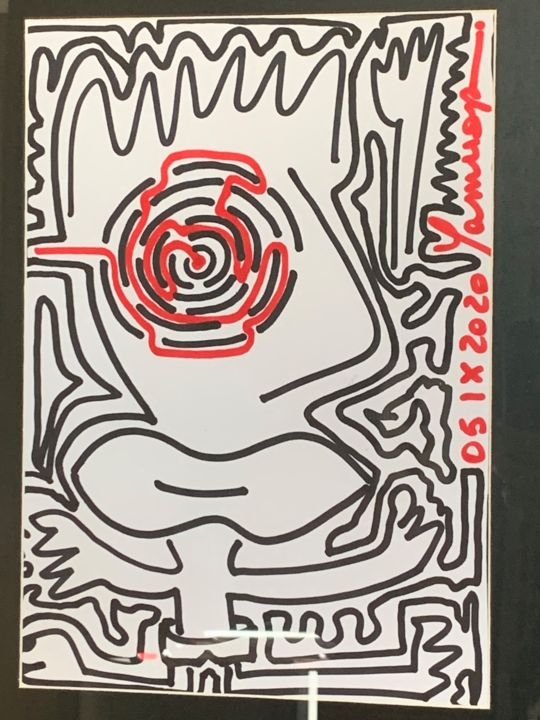 """Drawing titled """"evil is in the eye"""" by Paul Yves Poumay, Original Art, Marker"""