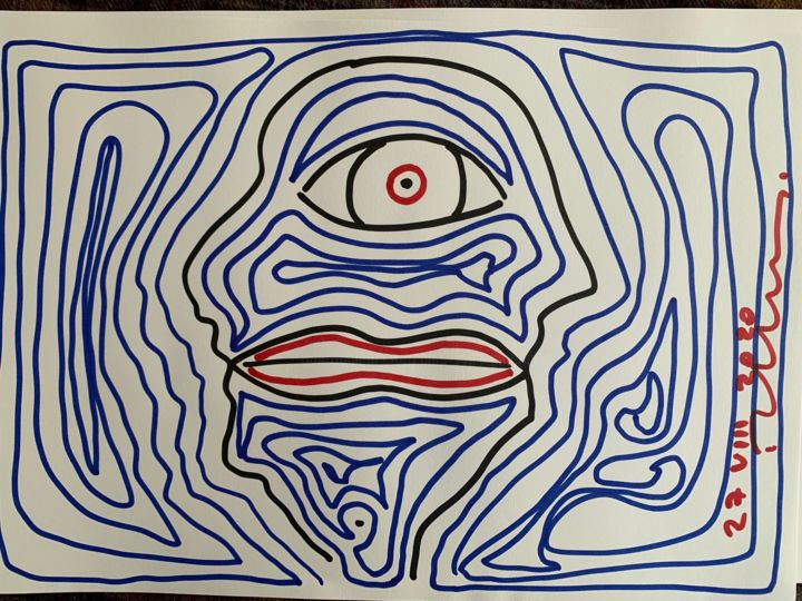 """Drawing titled """"human's ambiguity"""" by Paul Yves Poumay, Original Art, Marker"""