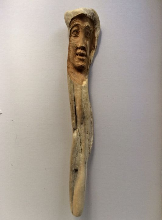 Sentinelle - Sculpture,  38 cm ©2014 by Paul Crochat -                                                        Environmental Art, Wood, People