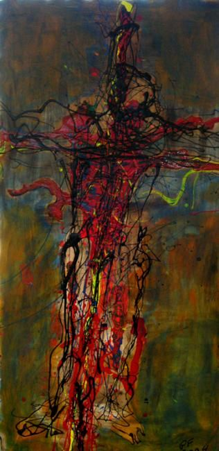 """Painting titled """"crucified"""" by Paul Freidin, Original Art, Oil"""