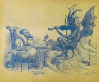Peter Benoit en het muzikaal duivelke - Dessin,  4,7x6,7 in, ©1989 par Paul GOSSELIN -                                                                                                          Portrait of the Belgian composer Peter Benoit and the musical devil by Paul Gosselin - Style, Satiric Symbolism