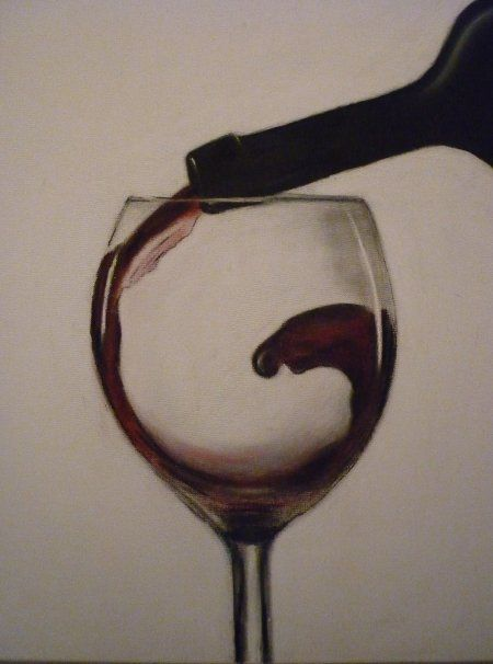 Make Mine A Red Wine - Drawing,  60x50 cm ©2007 by Paul Horton -                            Colors, Wine Glass Motion Study