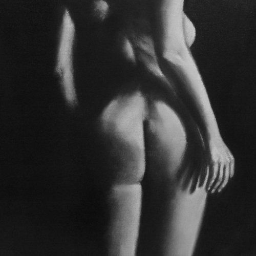 Addicted to Love - Drawing,  40x40 cm ©2010 by Paul Horton -                            Black and White, Nude Woman Study Sketch