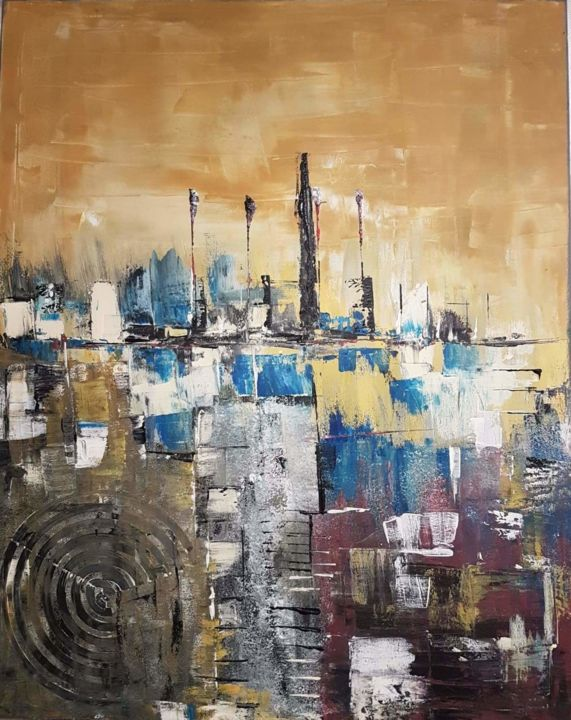 """Painting titled """"NYC by 2089"""" by Paulo Fernandes, Original Art, Acrylic"""